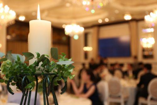 結婚式の装飾と結婚式の風景